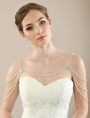 Bel Aire Bridal SH210  Rhinestone and pearl shoulder jewelry