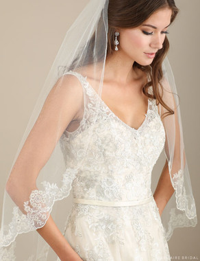 Bel Aire Bridal Veils V7305 - Pewter metallic lace