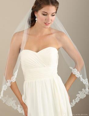 Bel Aire Bridal Veils V7309 - 1-tier fingertip cut edge veil with soft flower lace