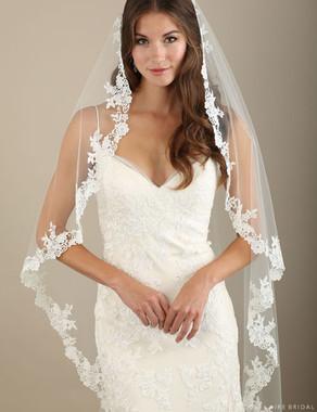 Bel Aire Bridal Veils V7322 - 1-tier waltz length cascading veil with Venise lace edge