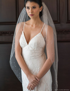 Bel Aire Bridal Veils V7362 - Scattered Pearls & Stone Edge