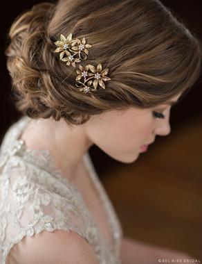 Bel Aire Bridal Hair Pins 1723 - Antique gold flower pins