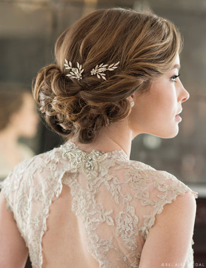Bel Aire Bridal Hair Pins 1721 - Delicate hairpins of leaves