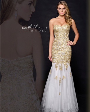 Milano Formals E1738 - Gold Long Dress