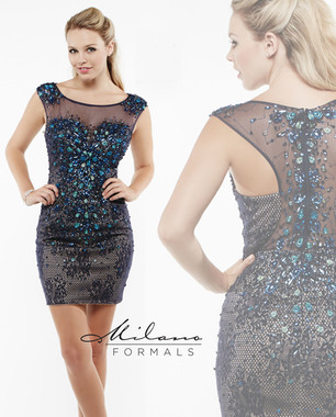 Milano Formals E1946 - Peacock Beaded Short Dress