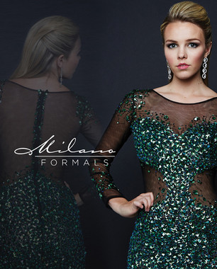 Milano Formals E1784 - Long Sleeve Beaded Short Dress