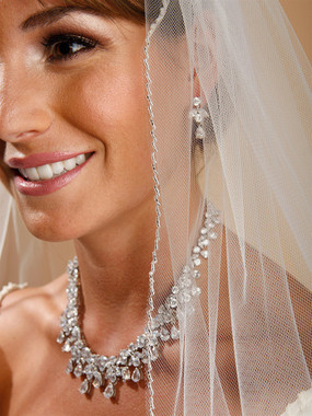 Mariells One Layer Bridal Veil with Zig Zag Silver Bugle Bead Edging 910V