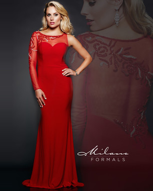 Milano Formals E1861 - Red One Sleeve Fitted Dress