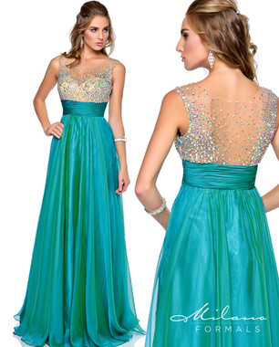 Milano Formals E1694 - Beaded Sheer Back