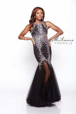 Milano Formals E1736 - Black Beaded Fitted Dress