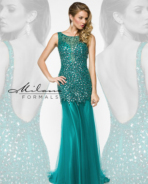 Milano Formals E1878 - Teal Long Beaded Fitted Dress