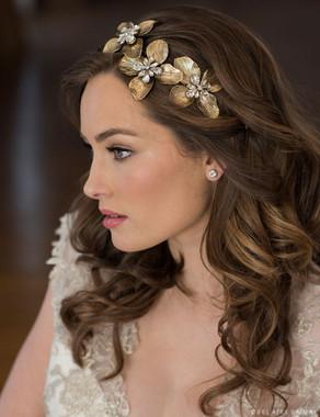 Bel Aire Bridal Hair 6687 - Headband of three antique metal flowers