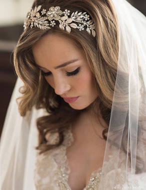 Bel Aire Bridal Hair Clip 6686  Bold headband of metal flowers