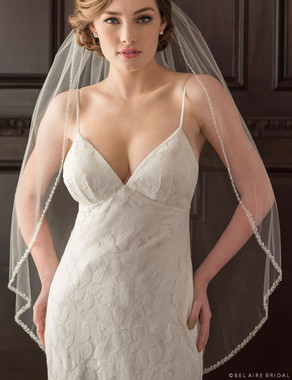 Bel Aire Bridal Veils  V7363 - Fingertip veil with beads and crystals