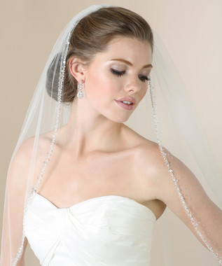 Bel Aire Bridal Veils V7275 - Elbow Length veil with silver beads