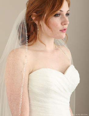 Bel Aire Bridal Veils V7301 - Fingertip Rhinestones & Crystals