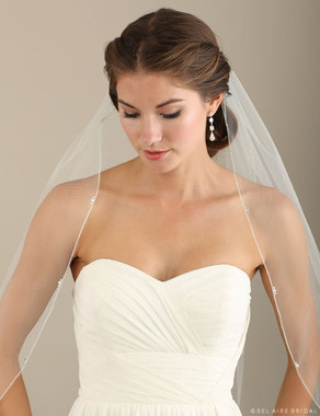 Bel Aire Bridal Veils V7302 - Rolled Silver Edge Rhinestone Accents