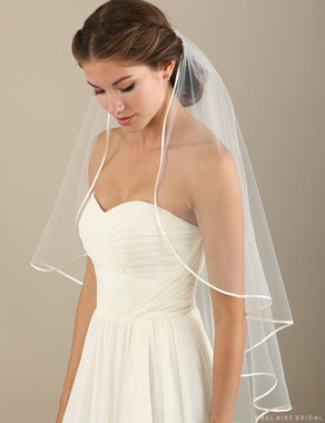 Bel Aire Bridal Veils V7303 - Cascading Ribbon Edge