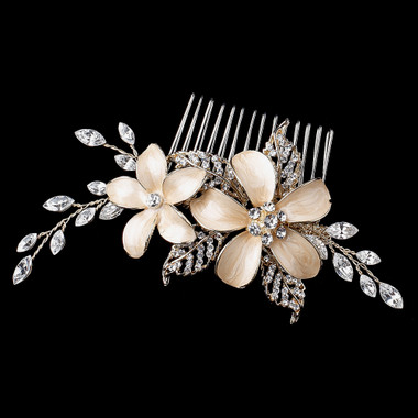 Light Gold Champagne Enameled Flower Hair Comb w/ Rhinestones