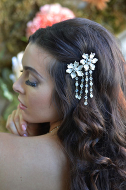 Ansonia Bridal 8707 - Dangle Flower Hair Clip