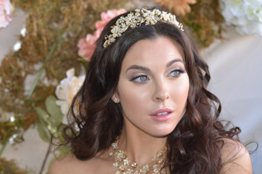 Ansonia Bridal Headpiece 8699 - Filigree Headband Encrusted With Pearls