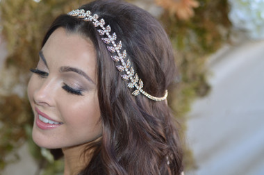 Ansonia Bridal Headpiece 8695 - Rhinestone Leaf Headband With Ribbon Ties