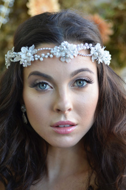 Ansonia Bridal Headpiece 8709 - Floral Wreath with Ribbon Ties