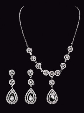 En Vogue Bridal Necklace NL1554 - Rhinestone necklace & earrings