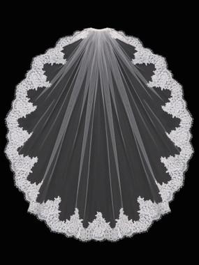 En Vogue Bridal Style V1699F - English Tulle Fingertip Lace Veil