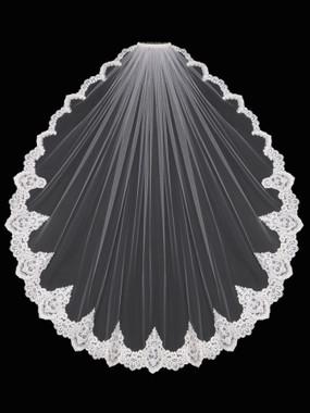 En Vogue Bridal Style V1698F - English Tulle Fingertip Lace Veil
