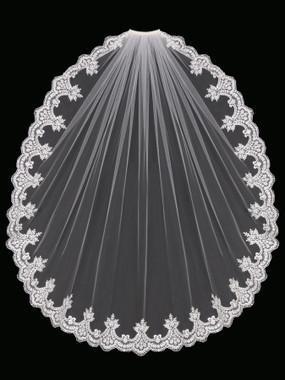 En Vogue Bridal Style V1697SF - English Tulle Fingertip Lace Veil - One Tier