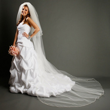 Cathedral Length Bridal Veil with Rounded Satin Corded Edge 899V