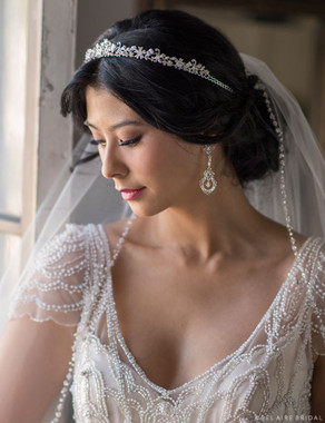 Bel Aire Bridal 6698 - Rhinestone and crystal tiara with pearls