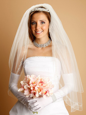 Mariell Bridals Veils 1400V -  Two Tier - Pearls, Swarovski Crystals & Dainty Chain in Silver or Gold 1400V