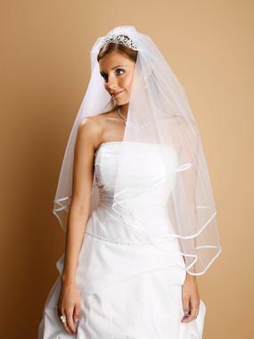 2-Tier Circular Cut Wedding Veil with Folded Satin Ribbon Edging 1546V-30
