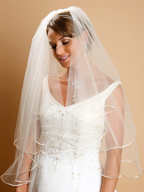 Mariell Bridals Veils 940V-25 - Two Tier Circular Cut Satin Corded Edge Bridal Veils