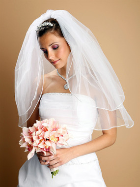 Mariell Bridals Veils 226V - Two Tier Wedding Veils with Rounded Satin Cord Edge