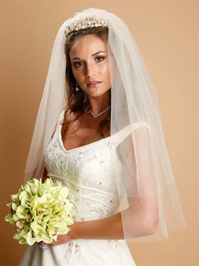 Mariell Bridals Veils 928V - Two Tier Cut Edge Bridal Veils