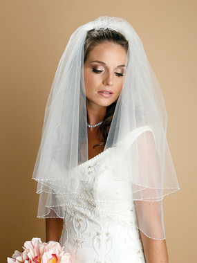 Mariell Bridals Veils 885V - Two Tier Circular Cut Veil with Seed Bead and Bugle Bead Edging