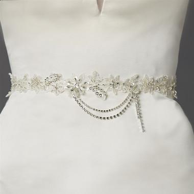 Mariell Bridals Floral Beaded Bridal Sash with European Wedding Lace 4479SH-I-S