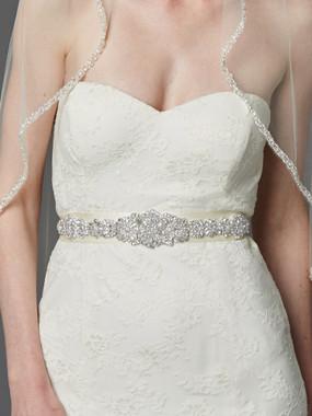 Mariell  Bridals Bejeweled Bridal Sash 4459SH-I-S - Genuine Crystal Applique