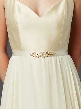 Mariell Bridals Hand Enameled Tea Rose Bridal Sash Belt 4482BT-I-G in Ivory Gold