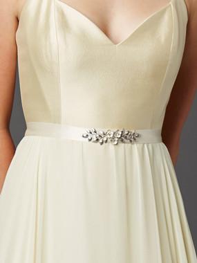 Mariell Bridals Hand Enameled Tea Rose Bridal Sash Belt 4482BT in Ivory Silver