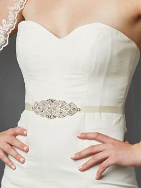 Mariell Bridals Crystal and Pearl Vintage Applique Bridal Sash 4460SH-I-S or Side Headband