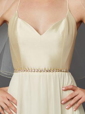 Mariell Bridals Genuine Crystal Bridal Belt 4464BT-G-I - Gold Links