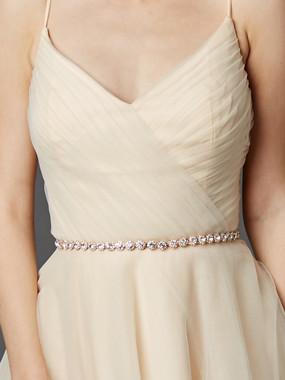 Mariell Bridals Preciosa Crystal Rhinestones Rose Gold Bridal Belt 4464BT-RG-I