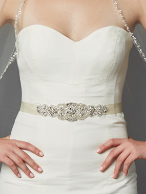 Mariell Bridals 4461SH-I-S Crystal and Pearl Crystal and Pearl Applique Bridal Sash or Belt