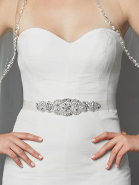 Mariell Bridals 4461SH-W-S White Crystal and Pearl Crystal and Pearl Applique Bridal Sash or Belt
