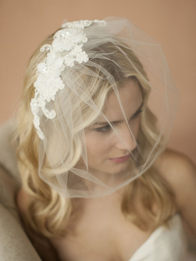 Mariell Bridals 4100V-IVORY Double Flower Lace Applique Tulle Birdcage Blusher Veil