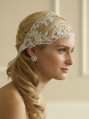 Mariell Bridals 4098HB White - Split Lace Ribbon Wedding Headband with French Netting